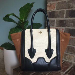 Pour La Victoire Snakeskin & Leather Butler Bag